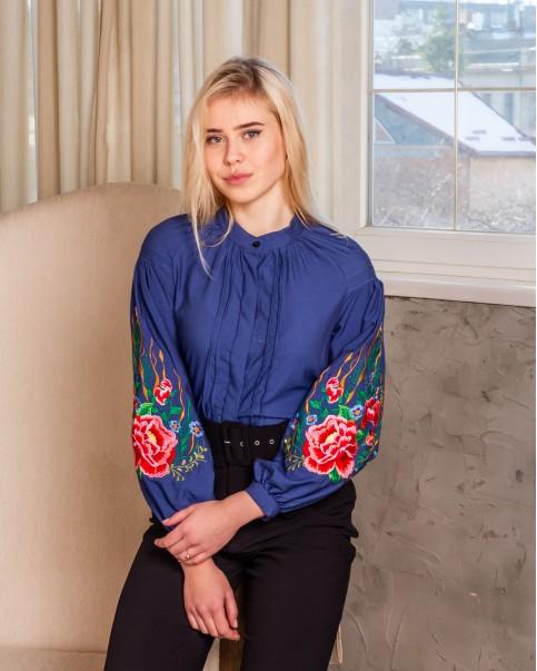Купити жіночу вишиту сорочку Аромат (джинс)в Україні від Галичанка фото 1