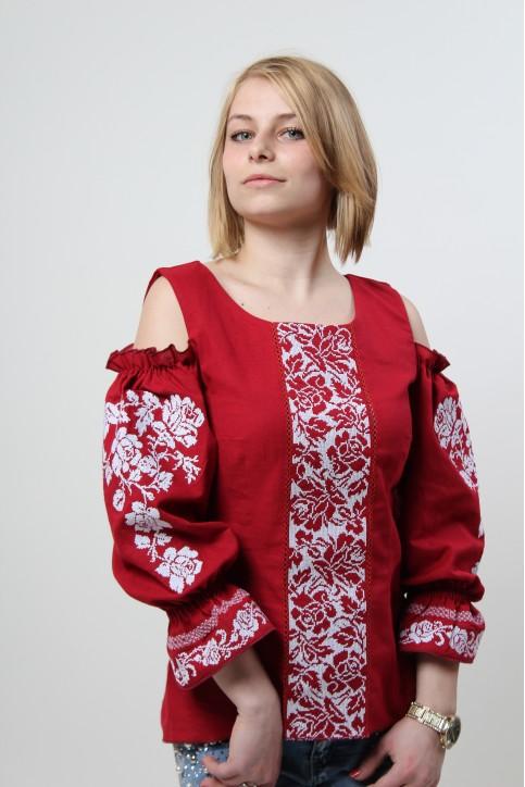 Купити жіночу вишиту сорочку Аура квітів (бордова)в Україні від Галичанка фото 1