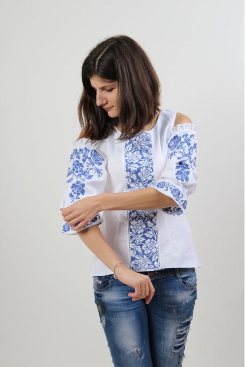 Купити жіночу вишиту сорочку Аура квітів (біла з синім)в Україні від Галичанка фото 1