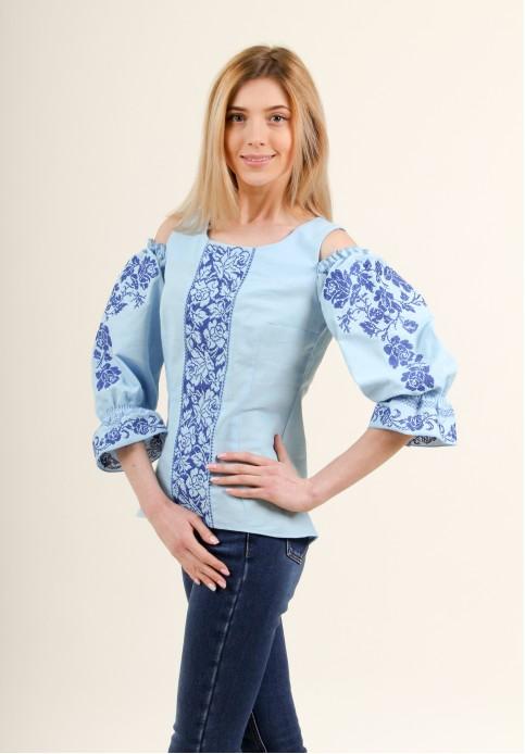 Купити жіночу вишиту сорочку Аура квітів (голуба)в Україні від Галичанка фото 1