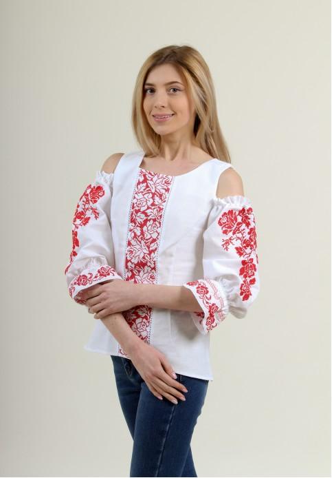 Купити жіночу вишиту сорочку Аура квітів (біла з червоним)в Україні від Галичанка фото 1