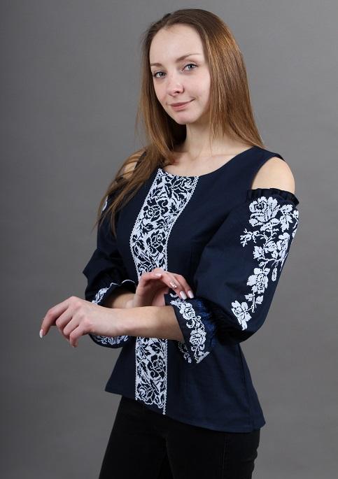 Купити жіночу вишиту сорочку Аура квітів (темно синя)в Україні від Галичанка фото 1