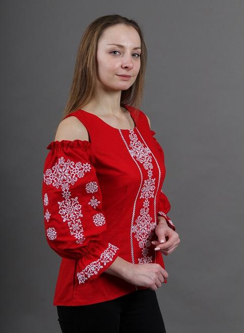 Купити жіночу вишиту сорочку Аура ночі (червона)в Україні від Галичанка фото 1
