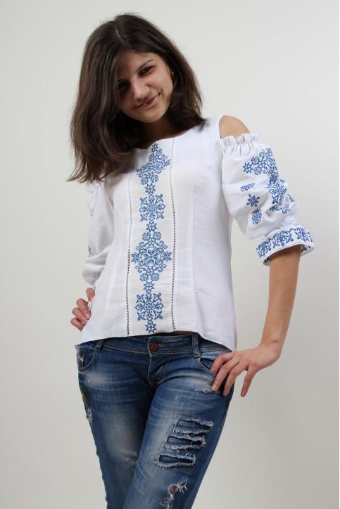 Купити жіночу вишиту сорочку Аура ночі (біла з синім)в Україні від Галичанка фото 1