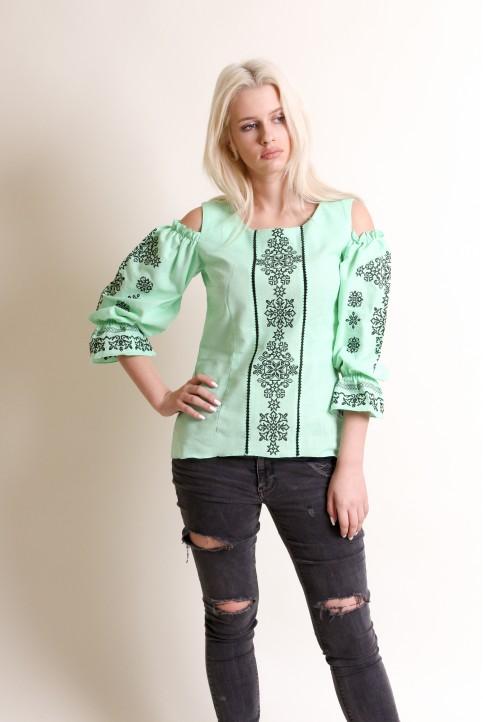 Купити жіночу вишиту сорочку Аура ночі (ментол)в Україні від Галичанка фото 1