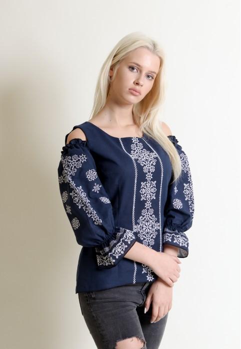 Купити жіночу вишиту сорочку Аура ночі (темно синя)в Україні від Галичанка фото 1