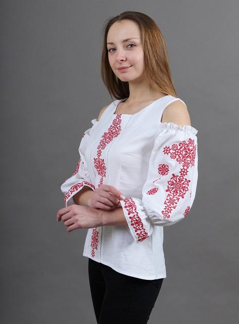 Купити жіночу вишиту сорочку Аура ночі (біла з червоним)в Україні від Галичанка фото 1