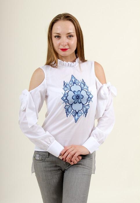 Купити жіночу вишиту сорочку Барокко (біла з синім)в Україні від Галичанка фото 1