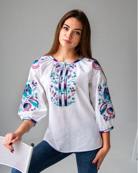 Купити жіночу вишиту сорочку Діброва (біла)в Україні від Галичанка фото 1