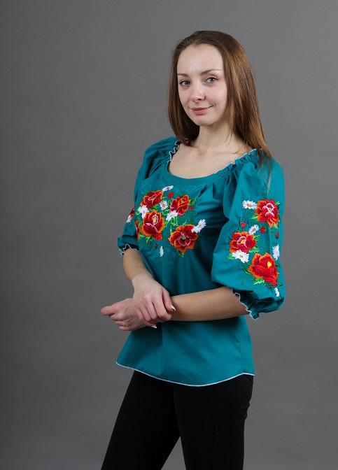 Купити жіночу вишиту сорочку Довершеність (смарагдовий)в Україні від Галичанка фото 1