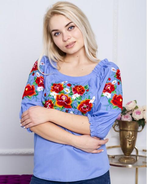 Купити жіночу вишиту сорочку Довершеність (голуба)в Україні від Галичанка фото 1