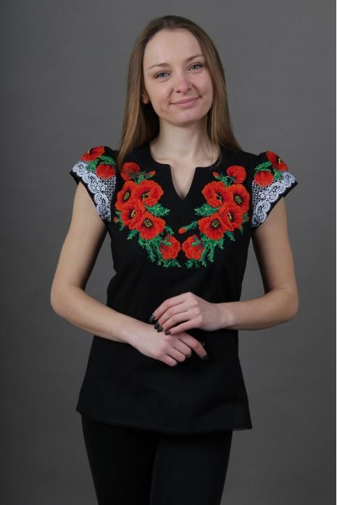 Купити жіночу вишиту сорочку Диво маки (чорна)в Україні від Галичанка фото 1