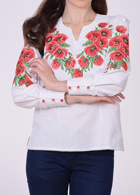 Купити жіночу вишиту сорочку Маки (біла з червоним)в Україні від Галичанка фото 1