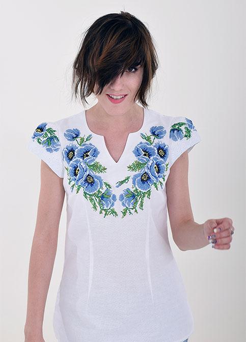 Купити жіночу вишиту сорочку Диво маки (біла з синім)в Україні від Галичанка фото 1