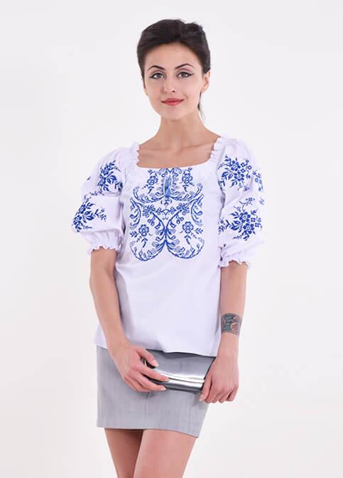 Купить женскую вышитую блузу Эйфория (белая с синим) в Украине от Галычанка фото 1