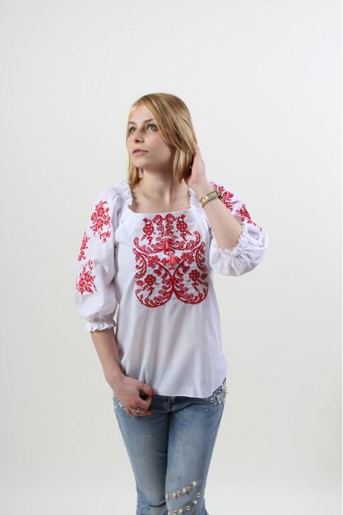 Купити жіночу вишиту сорочку Ейфорія (біла з червоним)в Україні від Галичанка фото 1