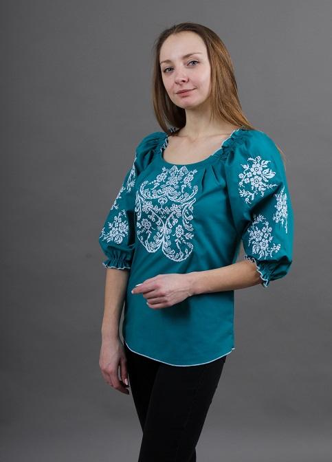 Купити жіночу вишиту сорочку Ейфорія (смарагдовий)в Україні від Галичанка фото 1