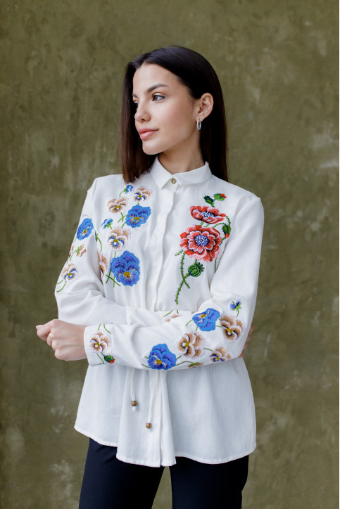 Купити жіночу вишиту сорочку Фелісія (молочна)в Україні від Галичанка фото 1