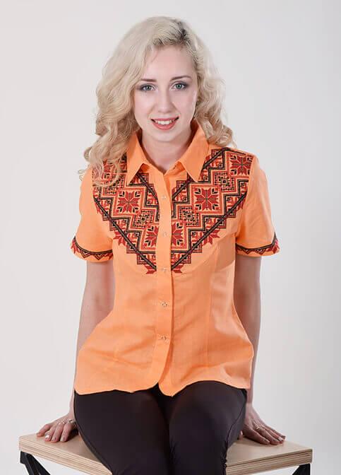Купити жіночу вишиту сорочку Галичанка (помаранчева)в Україні від Галичанка фото 1
