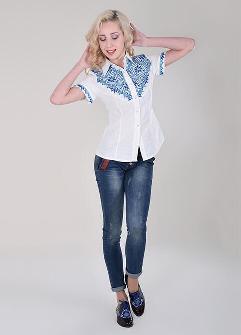 Купити жіночу вишиту сорочку Галичанка (біла з синім)в Україні від Галичанка фото 1
