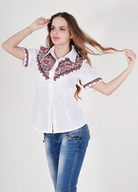 Купити жіночу вишиту сорочку Галичанка (біла з червоним)в Україні від Галичанка фото 1