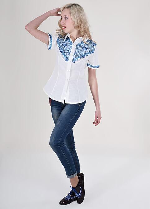 Купити жіночу вишиту сорочку Галичанка (біла з синім льон)в Україні від Галичанка фото 1