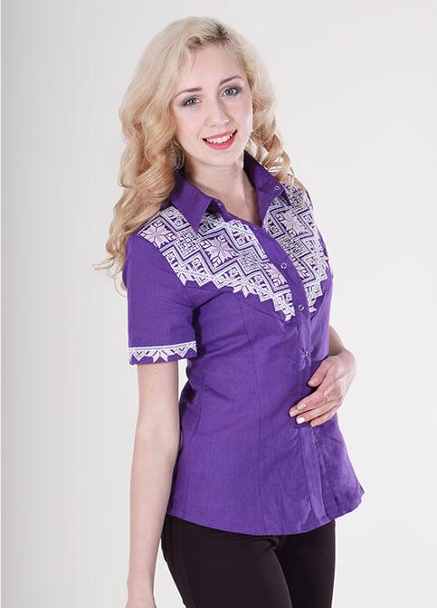 Купити жіночу вишиту сорочку Галичанка (фіолетова)в Україні від Галичанка фото 1