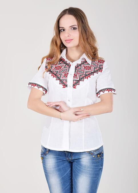 Купити жіночу вишиту сорочку Галичанка (біла з червоним льон)в Україні від Галичанка фото 1