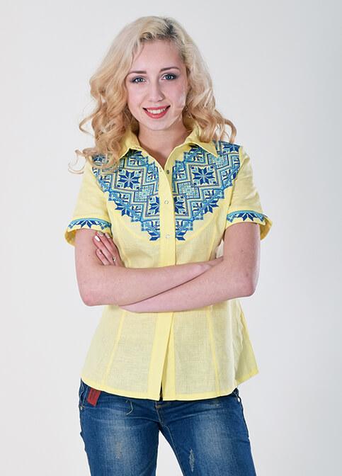 Купити жіночу вишиту сорочку Галичанка (жовта)в Україні від Галичанка фото 1