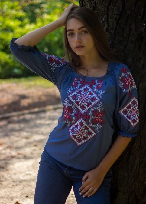 Купити жіночу вишиту сорочку  Говерла (джинс з червоно-білим)в Україні від Галичанка фото 1