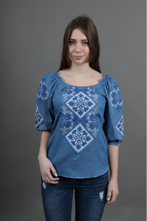 Купити жіночу вишиту сорочку Говерла (джинс з синім)в Україні від Галичанка фото 1