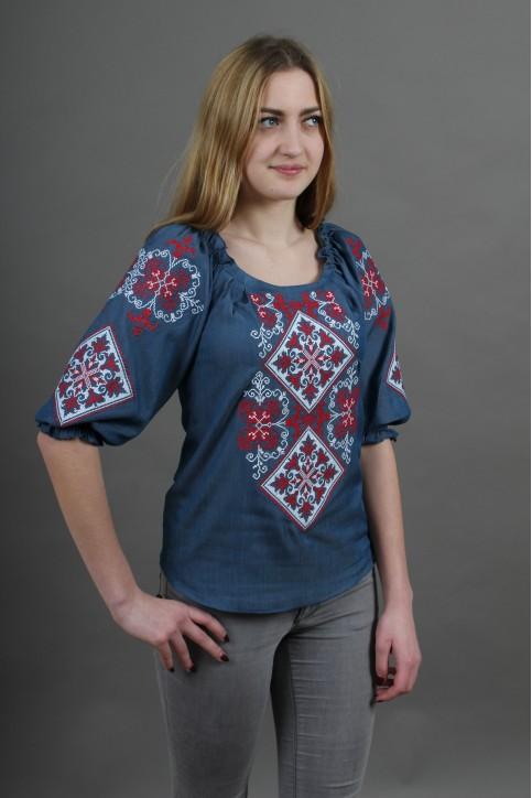 Купити жіночу вишиту сорочку Говерла (джинс т. з червоним)в Україні від Галичанка фото 1