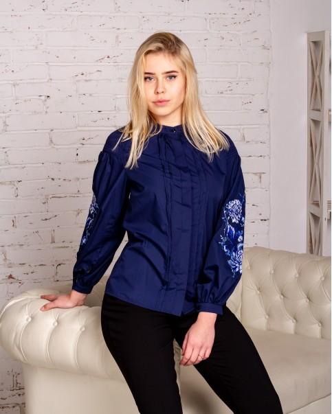 Купити жіночу вишиту сорочку Голуба симфонія (синя)в Україні від Галичанка фото 1