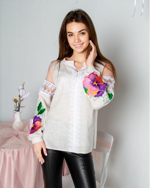 Купити жіночу вишиту сорочку Ядвіга (бежева)в Україні від Галичанка фото 1