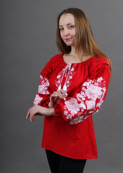 Купити жіночу вишиту сорочку Казка бохо (червона)в Україні від Галичанка фото 1