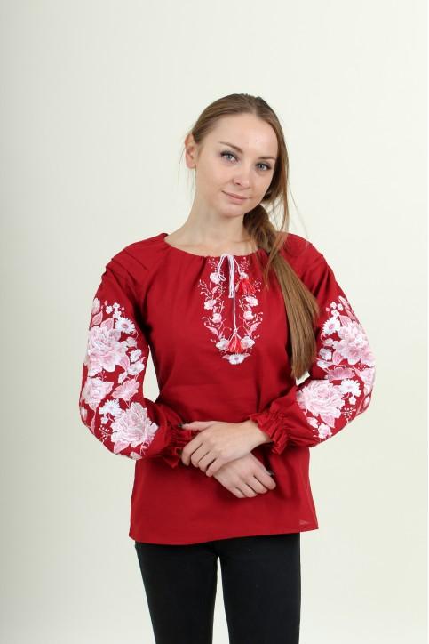 Купити жіночу вишиту сорочку  Казка (вишнева)в Україні від Галичанка фото 1