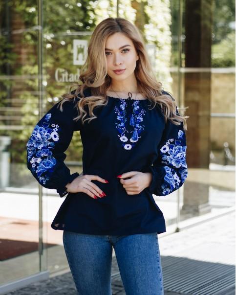 Купити жіночу вишиту сорочку Казка (синя)в Україні від Галичанка фото 1