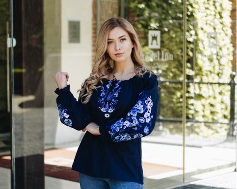 Купити жіночу вишиту сорочку Казка бохо (темно синя)в Україні від Галичанка фото 1
