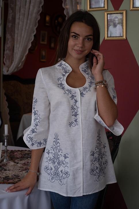 Купити жіночу вишиту сорочку Краплинка (біла з сірим)в Україні від Галичанка фото 1