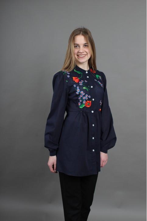 Купити жіночу вишиту сорочку Квітень (синя)в Україні від Галичанка фото 1