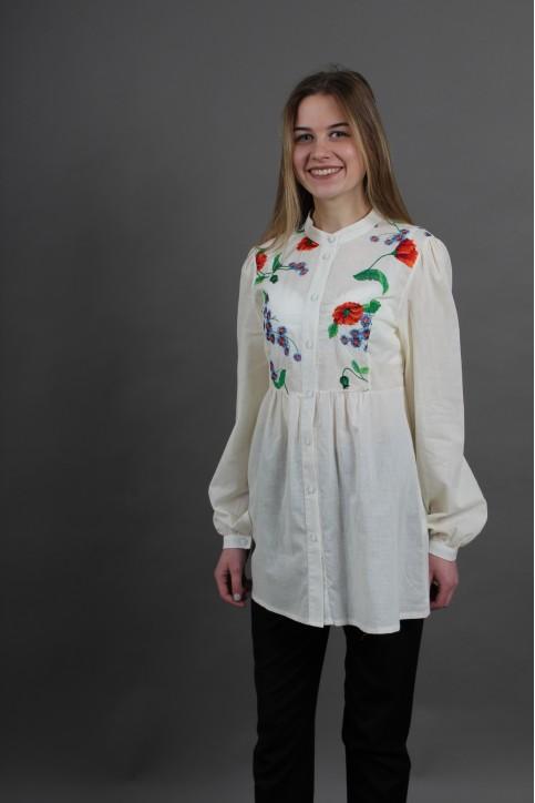 Купити жіночу вишиту сорочку Квітень (молочна)в Україні від Галичанка фото 1