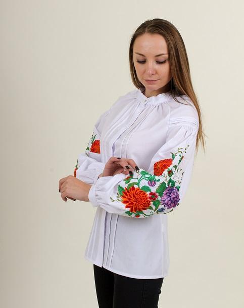 Купити жіночу вишиту сорочку Квіткова симфоніяв Україні від Галичанка фото 1