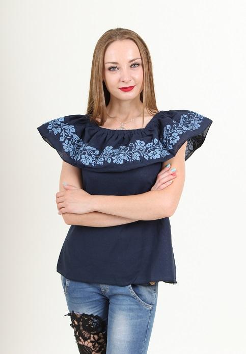 Купити жіночу вишиту сорочку Квіткові коралі (темно синя)в Україні від Галичанка фото 1