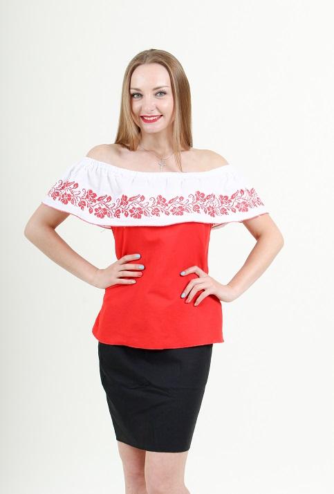 Купити жіночу вишиту сорочку Квіткові коралі (червона, рюша біла)в Україні від Галичанка фото 1