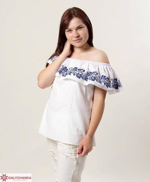 Купити жіночу вишиту сорочку Квіткові коралі (біла з синім)в Україні від Галичанка фото 1