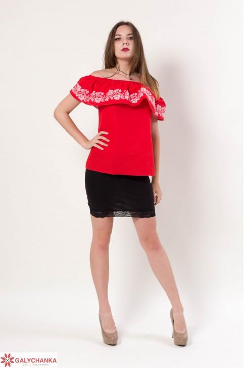 Купити жіночу вишиту сорочку Квіткові коралі (червона)в Україні від Галичанка фото 1