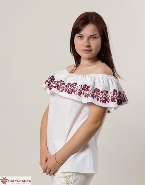 Купити жіночу вишиту сорочку Квіткові коралі (біла з вишневим)в Україні від Галичанка фото 1