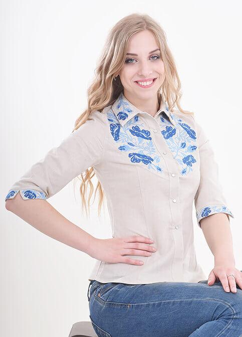 Купити жіночу вишиту сорочку Макова грація (сіра з голубим)в Україні від Галичанка фото 1