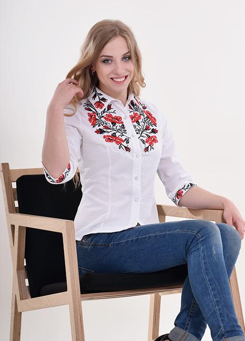 Купити жіночу вишиту сорочку Макова грація (біла з червоним)в Україні від Галичанка фото 1