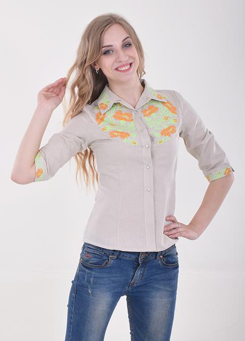 Купити жіночу вишиту сорочку Макова грація (сіра із зеленим)в Україні від Галичанка фото 1
